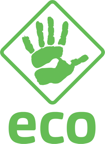 green hand logo to indicate eco friendly credentials